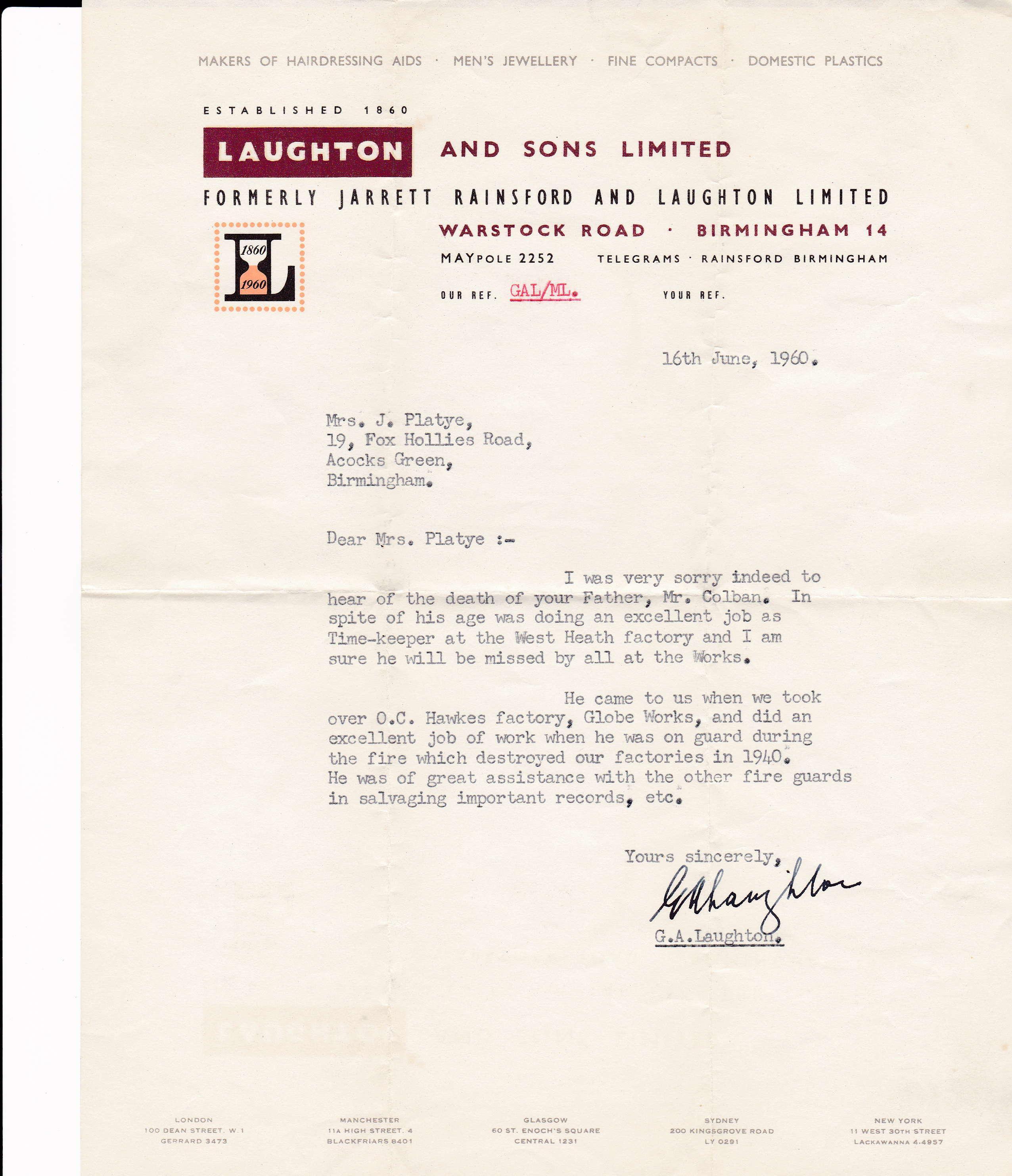 Laughton letter 1960