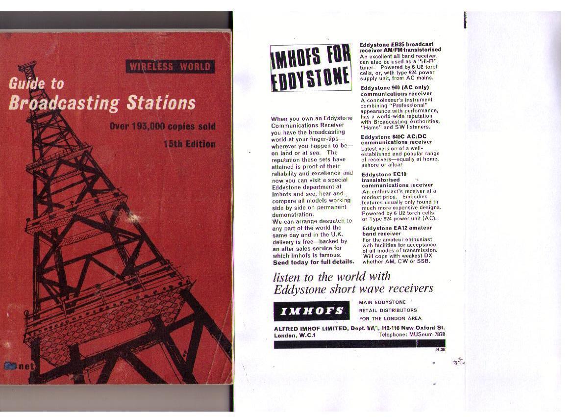 Eddystone Advert in WW Guide Book 1968